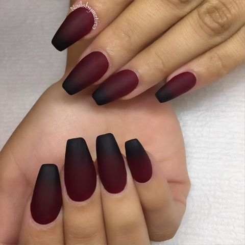 "<p>Go for major drama with a <a href=""https://www.instagram.com/p/8md943jwno/"" target=""_blank"">deep red hue that bleeds into black</a>.</p>"