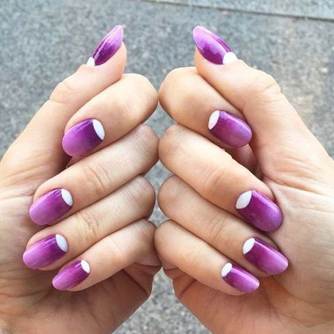 <p>A bright white half moon at the base of the nail makes < - 11 Ombre Nail Art Designs For Adults - Best Ideas For Ombre Nails