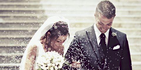 Clothing, Bridal veil, Veil, Coat, Petal, Photograph, Outerwear, Dress, Happy, Suit,