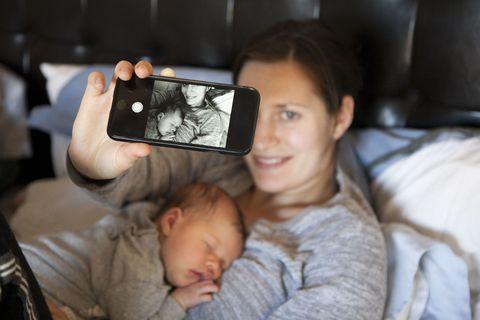 mom baby selfie