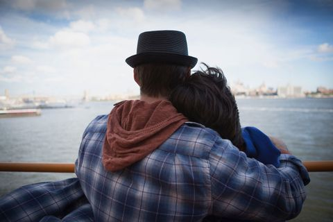 couple riding ferry