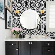 Room, Interior design, Plumbing fixture, Floor, Bathroom sink, Flooring, Property, Architecture, Wall, Purple,