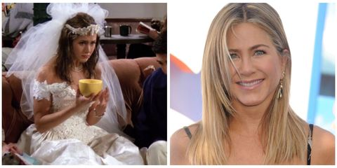 "<p>Talk about the best entrance a girl could ask for: Viewers meet Rachel Green as she frantically storms into Central Perk, soaked from head to toe wearing a wedding dress made of '90s dreams. That's not the last time Rachel wears a wedding dress, either: She later wears one in season 4, episode 20 (""The One With All the Wedding Dresses""), and of course she donned a gown for her real-life nuptials to <a href=""http://www.redbookmag.com/life/news/a39054/jennifer-anistion-justin-theroux-married-secret-ceremony/"" target=""_blank"">hubby Justin Theroux</a>. Oh, and let that serve as a reminder that she likely doesn't give an eff about Brangelina's divorce, so maybe <a href=""http://www.redbookmag.com/love-sex/relationships/a46074/jennifer-aniston-brad-pitt-angelina-jolie-divorce/"" target=""_blank"">leave her out of the tabloid drama</a>, mmk? </p>"
