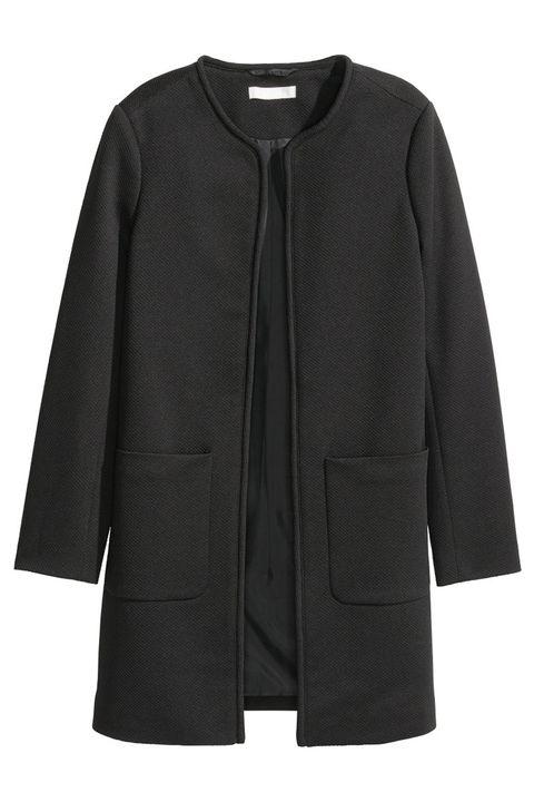 h&m black open front coat