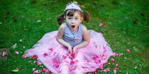 Nose, Mouth, Grass, Dress, Petal, Pink, Hair accessory, Headpiece, Child, Baby & toddler clothing,
