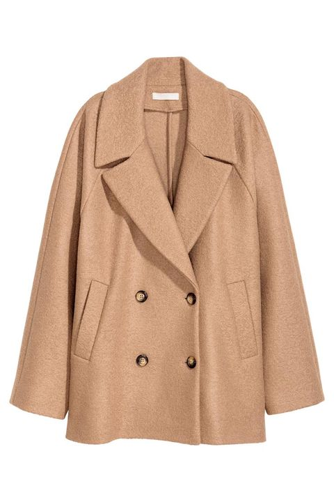 h&m short wool camel coat