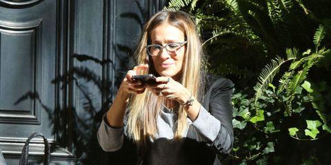 Eyewear, Hand, Fashion accessory, Beauty, Terrestrial plant, Mobile phone, Street fashion, Brown hair, Blond, Long hair,