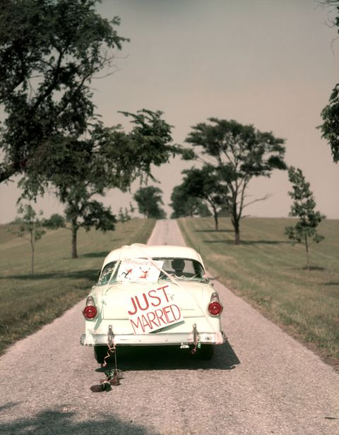 "<p>These days, newlyweds typically head off to the after-party once the wedding ends, but we think it's time they&nbsp;started decking out their cars with ""Just Married"" signs and tin cans&nbsp;again. And while we're at it, let's bring back the&nbsp;<a href=""http://www.chronicallyvintage.com/2014/05/riving-classic-tradition-of-wedding-day.html"" target=""_blank"" data-tracking-id=""recirc-text-link"">""going away""</a>&nbsp;outfit change. There's something special about sending off the bride and groom, smartly dressed for their next big adventure, as the bride throws the bouquet to her guests.</p>"
