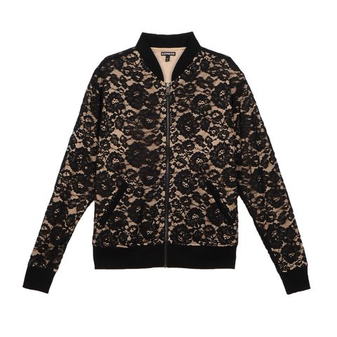 "<p>Date night has a new look thanks to this lace topper. ($98; <a href=""http://www.express.com/clothing/women/lace-bomber-jacket/pro/8872727/cat2900007"" data-tracking-id=""recirc-text-link"">express.com</a>)</p>"