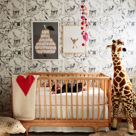 Wood, Product, Brown, Pattern, Textile, Vertebrate, Interior design, Room, Wall, Infant bed,