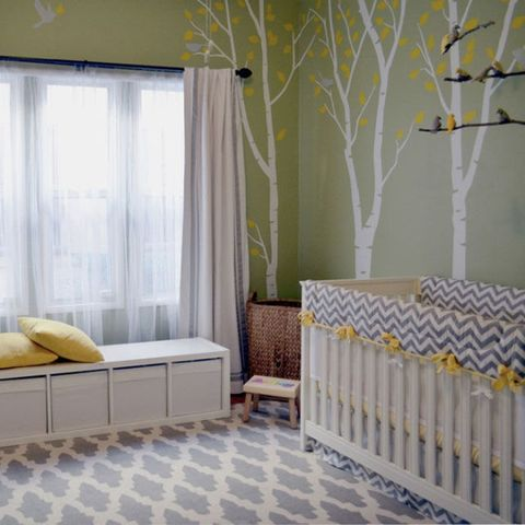 Room, Interior design, Yellow, Product, Floor, Green, Branch, Property, Bed, Textile,