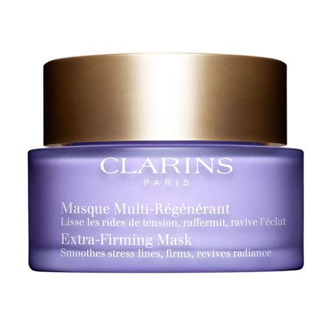 "<p>Rub on this luxe cream-gel to tighten wrinkles with palmitoyl glycine, while hyaluronic acid and jojoba oil provide a boost of hydration. (Clarins Extra-Firming Mask, $75; <a href=""http://www.clarinsusa.com/en/mask/80016252.html#q=firming%2Bmask&start=1"" target=""_blank"" data-tracking-id=""recirc-text-link"">clarinsusa.com</a>)</p>"