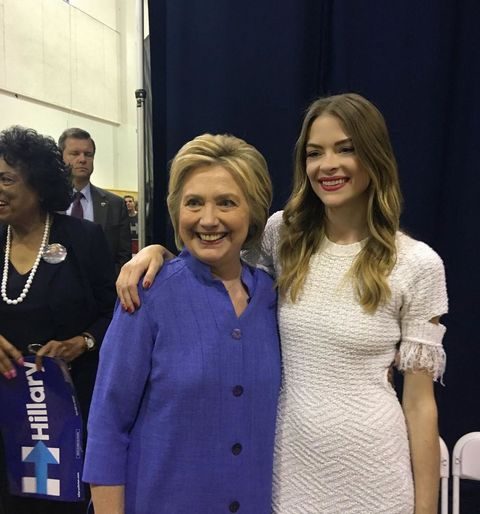 """<p>The actress&nbsp;<a href=""""https://www.instagram.com/p/BGNB8vot1Cp/"""" target=""""_blank"""" data-tracking-id=""""recirc-text-link"""">posted this photo with Hillary Clinton</a> before the primaries back in June, encouraging her followers to go vote. King wrote,&nbsp;""""our country will be even greater when this woman is our next POTUS!<span class=""""redactor-invisible-space"""" data-verified=""""redactor"""" data-redactor-tag=""""span"""" data-redactor-class=""""redactor-invisible-space"""">""""</span></p>"""