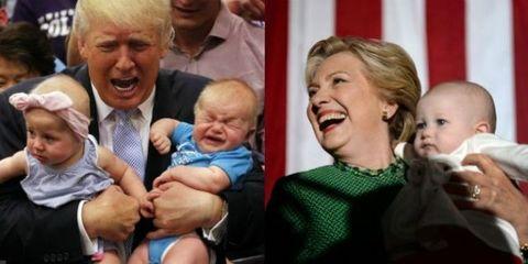 hillary clinton donald trump holding babies