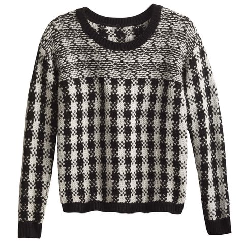 "<p>Buffalo plaid gets a sophisticated&nbsp;update&nbsp;when done in black and white. ($98; <a href=""http://www.anntaylor.com/buffalo-check-pullover/409003?skuId=21992582&amp;defaultColor=6600&amp;colorExplode=false&amp;catid=cata000011"" data-tracking-id=""recirc-text-link"" target=""_blank"">anntaylor.com</a>)</p>"