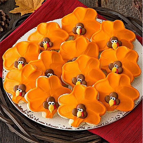 Cheryl's Buttercream Frosted Turkey Cut-out Cookies