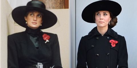 <p>Diana at the Remembrance Sunday Service in 1991; Kate in a Diane Von Furstenberg coat at the same service in 2016.</p>