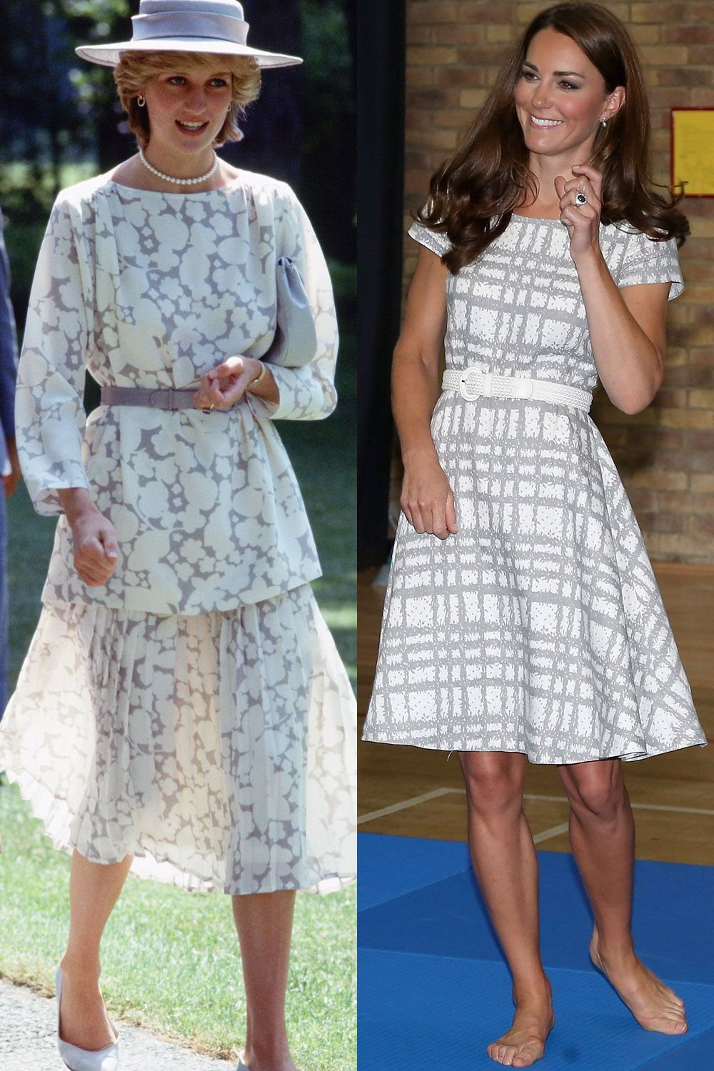 <p>Diana in Jasper Conran during a visit to Canada in June 1983; Kate visiting Bacon's College in July 2012.</p>