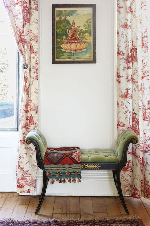 "<p>The secret to this trick is not limiting yourself to one design style. Pair modern pieces with traditional ones, Asian touches with rustic fabrics. The effect is fresh and makes a room feel special. Here, Albano combined toile drapes, a Southwestern rug, an Indian painting, and a Victorian velvet bench. ""They all harmonize because one item doesn't outshine the others,"" she says.</p>  <p><strong data-redactor-tag=""strong"" data-verified=""redactor"">RELATED: </strong><strong data-redactor-tag=""strong"" data-verified=""redactor""><a href=""http://www.redbookmag.com/home/a40695/genius-hacks-for-packing-your-suitcase/"" target=""_blank"" data-tracking-id=""recirc-text-link"">20 Genius Space-Saving Hacks for Packing Your Suitcase</a></strong></p>"