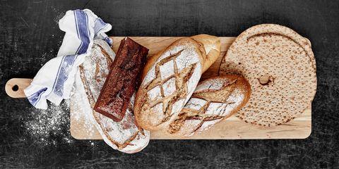 Bread, Food, Finger food, Baked goods, Ingredient, Snack, Gluten, Breakfast, Staple food, Sliced bread,