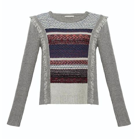 "<p>The woven details and fringe accents add instant&nbsp;cool factor to this classic silhouette. ($295; <a href=""http://www.whiteandwarren.com/lofty-melange-tapestry-fringe-crewneck-8"" data-tracking-id=""recirc-text-link"" target=""_blank"">whiteandwarren.com</a>)</p>"