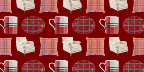 Plaid, Pattern, Dishware, Tartan, Red, Textile, Serveware, Porcelain, Maroon, Carmine,