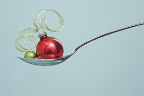 """<p>""""The holidays are not a license to overeat,"""" says Victoria Shanta Retelny, a Chicago-based registered dietician and author of <i data-redactor-tag=""""i""""><a href=""""https://www.amazon.com/Total-Dummies-Victoria-Shanta-Retelny/dp/1119110580"""" target=""""_blank"""" data-tracking-id=""""recirc-text-link"""">Total Body Diet for Dummies</a></i>. Serving up smaller portions saves a lot of calories. Worried eating less will leave you feeling deprived? Researchers at Cornell University fed study participants small or large portions of chocolate, apple pie, and chips and <a href=""""http://www.sciencedirect.com/science/article/pii/S0950329312001188"""" data-tracking-id=""""recirc-text-link"""" target=""""_blank"""">found</a> that both groups felt equally satisfied with their indulgence—even though those given smaller portions ate half as many calories.</p>"""