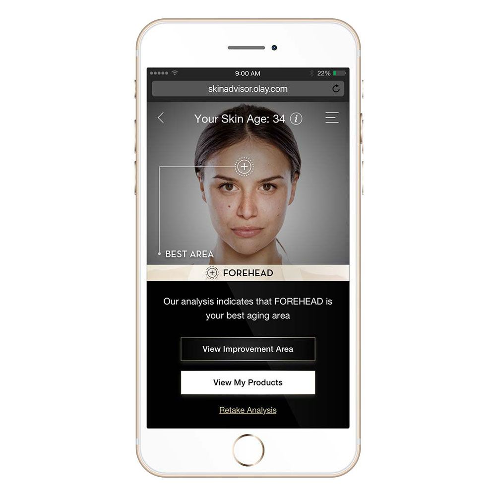 """<p>Though technically not an app, this site (which is only accessible on a mobile device) from the beloved skin-care brand serves as your <a href=""""http://www.redbookmag.com/beauty/anti-aging/g3800/dermatologist-skin-care-tips/"""" target=""""_blank"""" data-tracking-id=""""recirc-text-link"""">virtual dermatologist</a>, minus the hour spent idling in a waiting room. You snap or upload a makeup-free selfie, then answer 10 or so questions about the kinds of skin products you're currently using and your biggest skin concerns, be it dark spots, wrinkles, or anything else. The app then assesses your complexion, tells you your skin's visible age compared with your actual age (yikes), and identifies which areas of your face could use a little TLC. From there, you get an Olay <a href=""""http://www.redbookmag.com/beauty/anti-aging/tips/g616/anti-aging-creams-for-your-neck/"""" target=""""_blank"""" data-tracking-id=""""recirc-text-link"""">anti-aging regimen</a> that reflects your priorities and how much time you're willing to spend, neatly laid out in a.m. and p.m. order. At any point, you can check back in with a new selfie to see how well your age-busters are working. (Free&#x3B; <a href=""""http://skinadvisor.olay.com"""" target=""""_blank"""" data-tracking-id=""""recirc-text-link"""">olay.com</a>)</p>"""