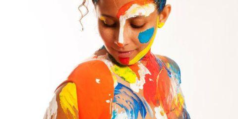 Lip, Orange, Colorfulness, Art, Eyelash, Painting, Paint, Portrait, Illustration, Portrait photography,