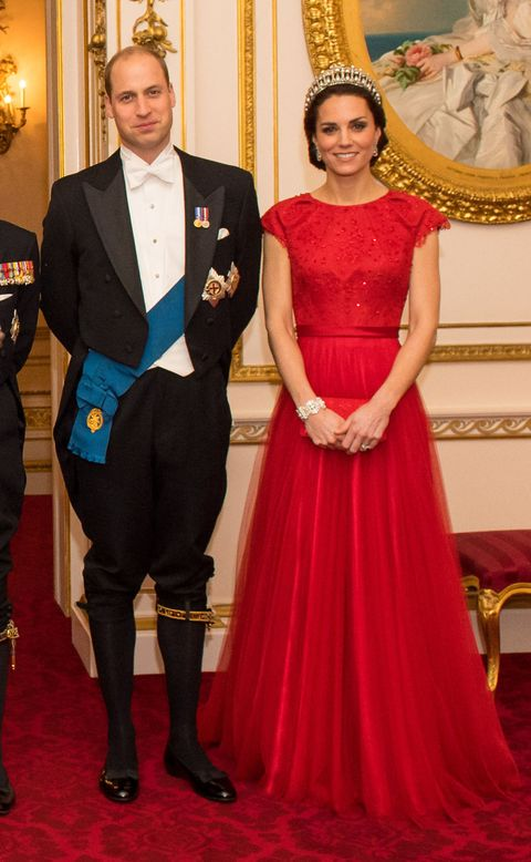 <p>At the Annual Diplomatic Reception held at Buckingham Palace, the Duchess accessorized her ruby-red Jenny Packham gown with the Cambridge Lover's Knot Tiara—a favorite of Princess Diana. </p>