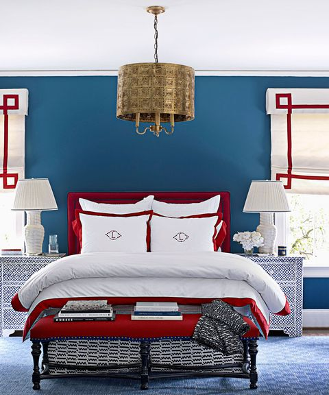 Blue, Room, Interior design, Textile, Wall, Red, Furniture, Bedding, Linens, Interior design,