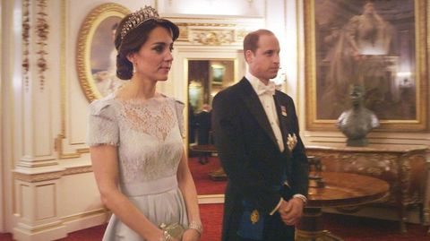<p>The Duchess previously wore the Cambridge Lover's Knot Tiara at the Annual Diplomatic Reception in 2015, paired with an ice blue Alexander McQueen gown. </p>