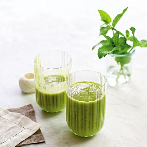 "<p><strong data-redactor-tag=""strong"">Ingredients<br></strong>1 avocado<br>1 large frozen banana<br>1 cup probiotic coconut water<br>½ cup frozen pineapple chunks<br>¼ cup chopped parsley<br>6 mint leaves<br>1 teaspoon grated fresh ginger </p><p><strong data-redactor-tag=""strong"">Directions: </strong>Blend all ingredients together until smooth. Makes one 12-ounce serving. </p><p><i data-redactor-tag=""i"">Reprinted with permission from </i><a href=""https://www.rodalestore.com/wh-bbo-smoothies-and-soups/B001406.html?dwvar_B001406_color=N01&amp;categoryid=rodale-wellness&amp;gaact=productclick"" data-tracking-id=""recirc-text-link"" target=""_blank"">The Women's Health Big Book of Smoothies &amp; Soups</a><em data-redactor-tag=""em""> by Lisa DeFazio, R.D.</em></p>"