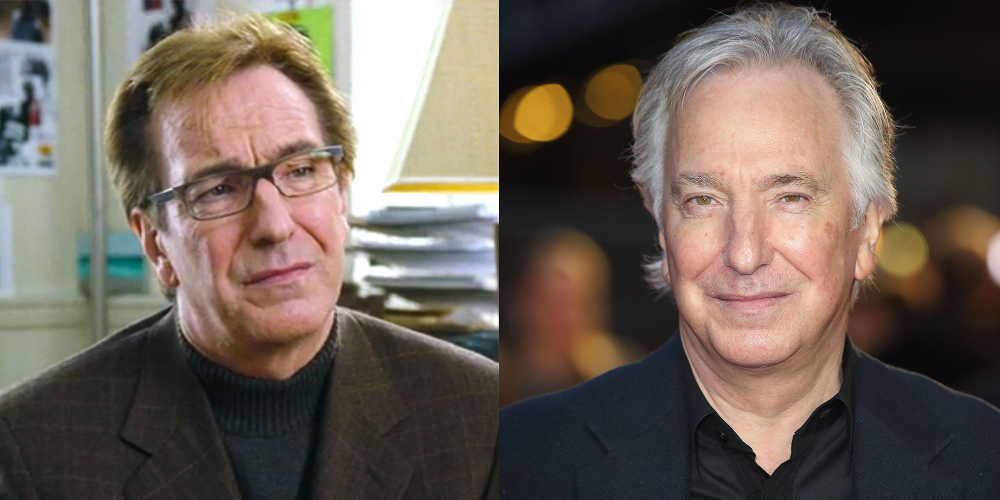 "<p>Rickman continued to play the bittersweet role of <strong data-redactor-tag=""strong"" data-verified=""redactor"">Professor Severus Snape in the <i data-redactor-tag=""i"">Harry Potter </i>film series </strong>after working on <i data-redactor-tag=""i"">Love Actually.</i> In 2007, the Golden Globe–winning actor worked with Johnny Depp and fellow <i data-redactor-tag=""i"">Harry Potter </i>star Helena Bonham Carter in the movie adaptation of <i data-redactor-tag=""i"">Sweeney Todd</i>. The much-loved actor passed away in January 2016, not long after being diagnosed with pancreatic cancer.<br></p>"