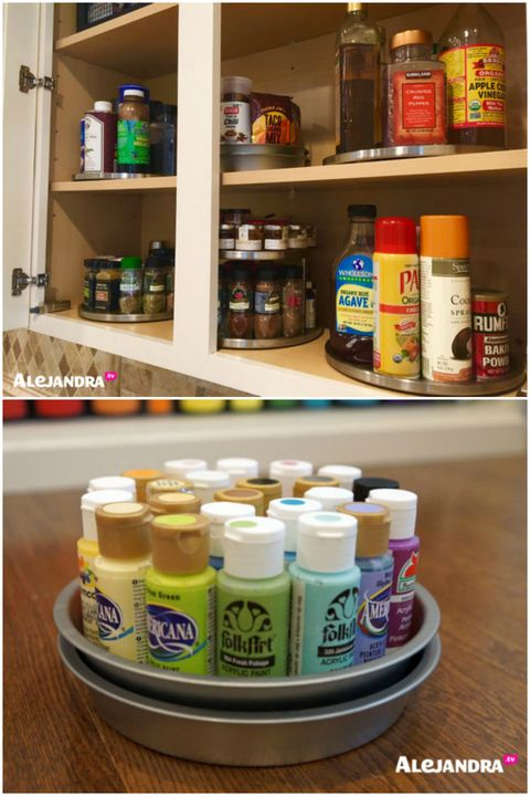 <p>Save space by corralling bottles (think spices or vitamins) on lazy susans. Alejandra went the extra mile with a DIY spinning tray for craft paints. She sandwiched two baking tins with some marbles in between.  </p>