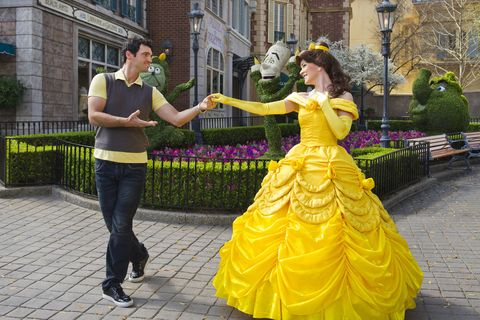 Clothing, Yellow, Trousers, Dress, Photograph, Gown, Interaction, Bench, One-piece garment, Bridal party dress,