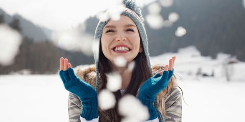 Winter, Happy, People in nature, Glove, Freezing, Snow, Playing in the snow, Youth, Eyelash, Tooth,