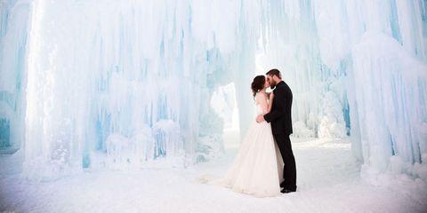 Clothing, Blue, Dress, Bridal clothing, Coat, Photograph, Outerwear, Happy, Bride, Suit,