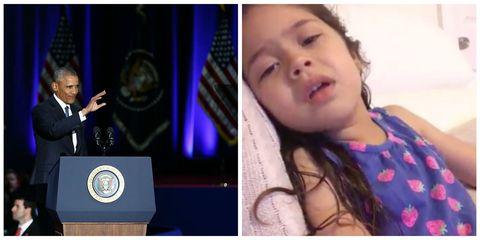 obama and crying girl