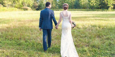 Clothing, Coat, Trousers, Dress, Wedding dress, Photograph, Bridal clothing, Bride, Suit, Outerwear,