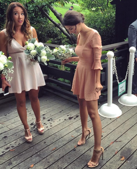"<p>The actress wore a bell-sleeved mini-dress for her friend's wedding, captioning the photo she <a href=""https://www.instagram.com/p/BLoo_SNDSSA/?taken-by=emrata&amp;hl=en"" target=""_blank"" data-tracking-id=""recirc-text-link"" data-unsp-sanitized=""clean"">posted to Instagram</a> with a simple: ""Bridesmaids."" If only all bridesmaids dresses could be so on-trend.&nbsp;</p>"