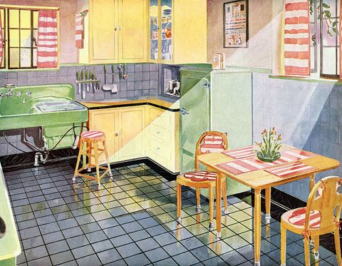 "<p>Though color didn't totally&nbsp;dominate until&nbsp;the '50s, <a href=""http://www.housebeautiful.com/design-inspiration/home-makeovers/g2073/1920s-home-before-after/"" target=""_blank"" data-tracking-id=""recirc-text-link"" data-unsp-sanitized=""clean"">some designers</a> encouraged a little playfulness with decor as early as 1920. Note the compact icebox and the very roomy double-sink. </p>"