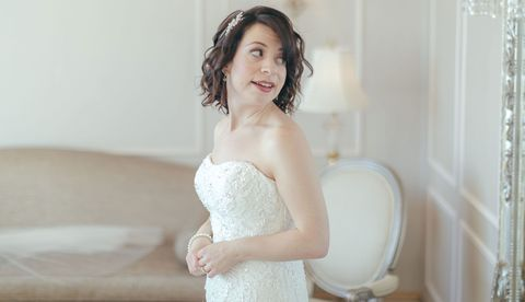 Clothing, Mouth, Dress, Hairstyle, Bridal clothing, Eye, Strapless dress, Shoulder, Photograph, Joint,