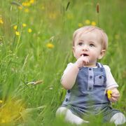 baby in a meadow springtime