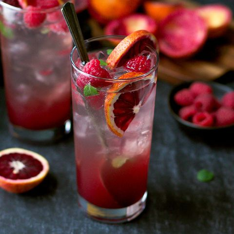 Blood Orange and Raspberry Mojito
