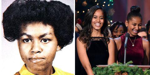<p>Michelle and Malia at 17 years old and Sasha at 14.</p>