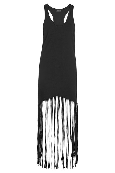 topshop black fringe coverup dress