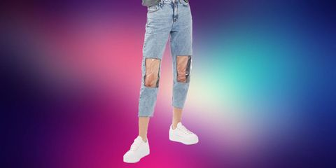 Jeans, Denim, Clothing, Pink, Standing, Pocket, Leg, Fashion, Textile, Human leg,