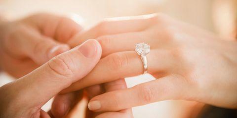 Ring, Engagement ring, Finger, Wedding ring, Hand, Skin, Wedding ceremony supply, Jewellery, Diamond, Fashion accessory,