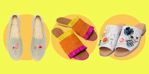 Footwear, Slipper, Shoe, Product, Yellow, Espadrille, Sock,
